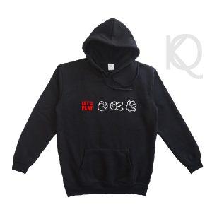 rock paper scissor on black hoodie