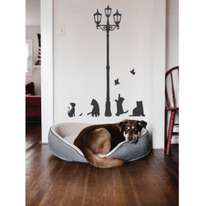 cats playing under street light wall decal design