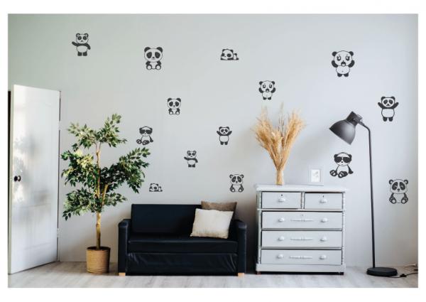 cute panda wall decal design