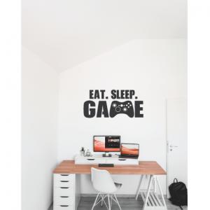 eat sleep game wall decal design