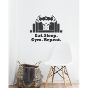 eat sleep gym repeat wall decal design