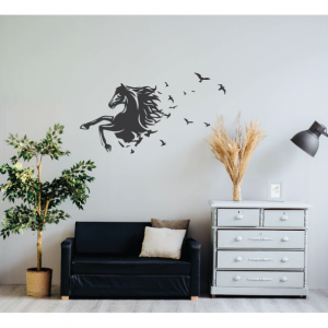 horse bird fantasy wall decal design