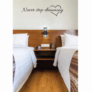 never stop dreaming wall decal design