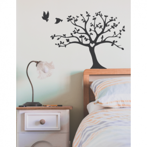 tree and flying birds wall decal design