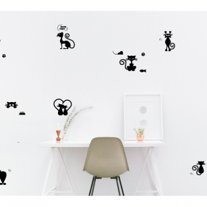 variety cats wall decal design