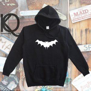 white bat pull up hoodie